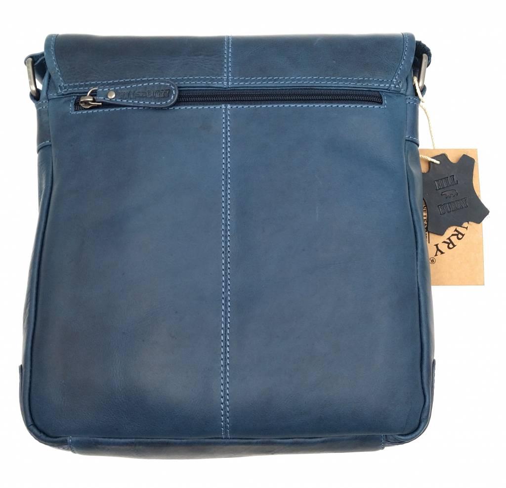 Hill Burry Hill Burry - VB10023 -2089 - Echtleder - Schulter -crossbodytas- Firma - Vintage-Leder blau