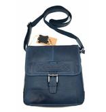 Hill Burry Hill Burry – VB10023 -2089 - echt leren - schoudertas –crossbodytas- stevig - vintage leder- blauw