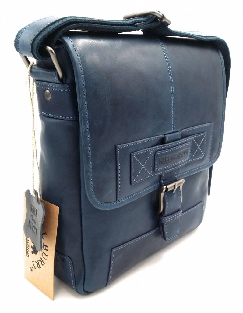 Hill Burry Hill Burry - VB10023 -2089 - real leather - Shoulder -crossbodytas- firm - vintage leather blue