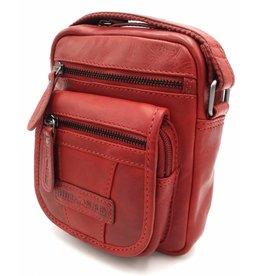 Hill Burry Hill Burry - VB10048 - 3112 - echt leren - schoudertas – crossbodytas- stevig - vintage leder- rood