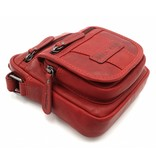 Hill Burry Hill Burry - VB10048 - 3112 - Echtleder - Schultertasche - crossbodytas- Firma - Vintage-Leder- rot