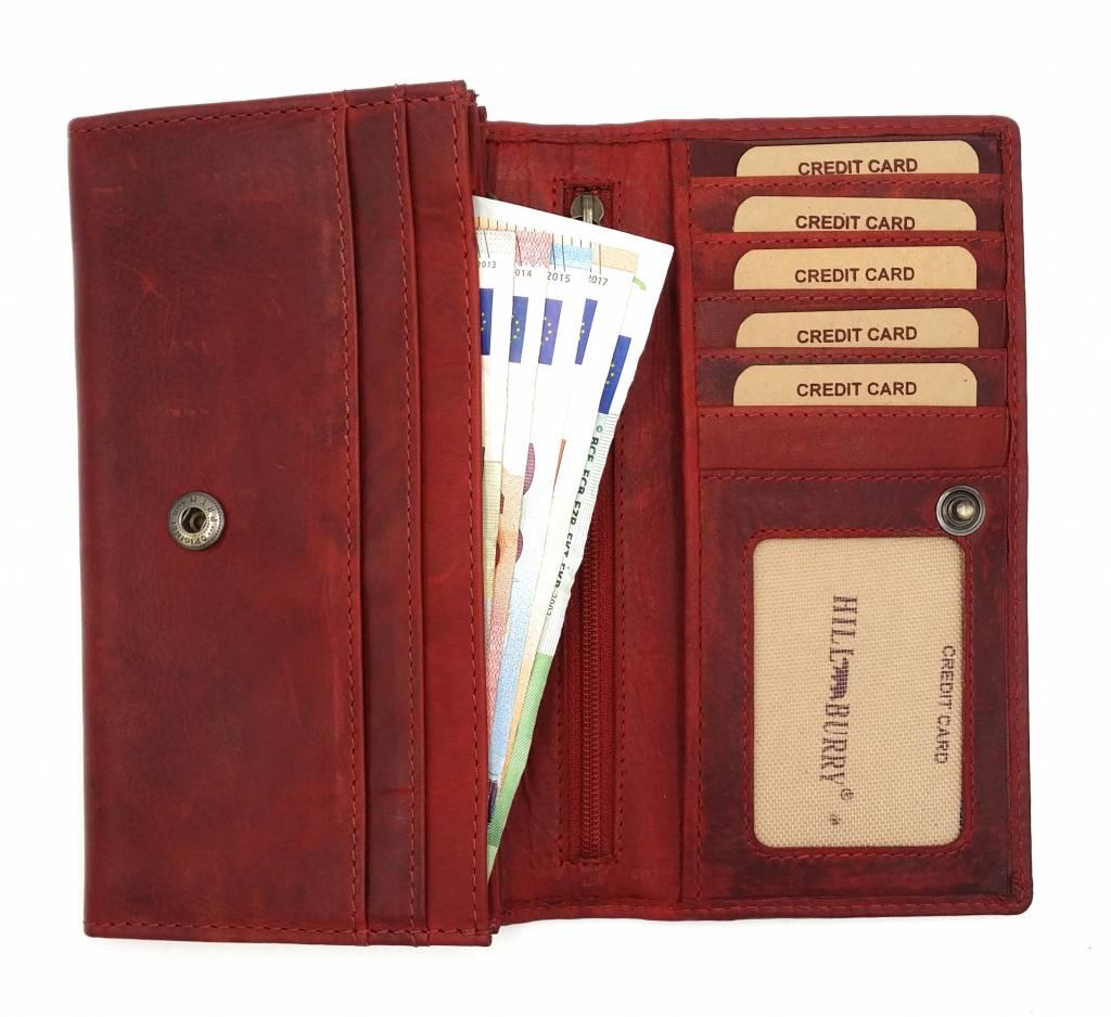 Hill Burry Hill Burry - VL77701 - L104 - echt lederen - dames - portemonnee - vintage leder- rood