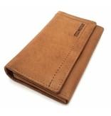 Hill Burry Hill Burry - VL77701 - L104 - echt lederen - dames - portemonnee - vintage leder- bruin/ cognag