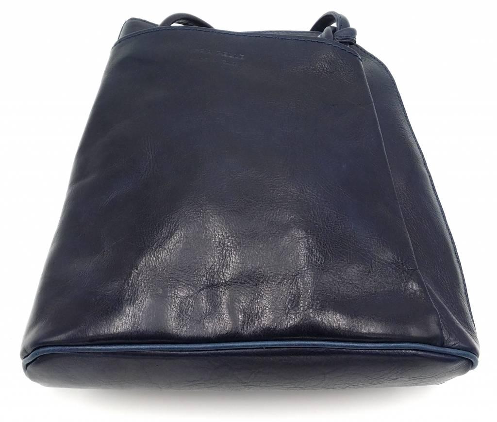 Bester Leder - RZ20015 -  wirklich lernen - zwei in einem - Umhängetasche - Rucksack - solide - Qualität italienischen Leder blau