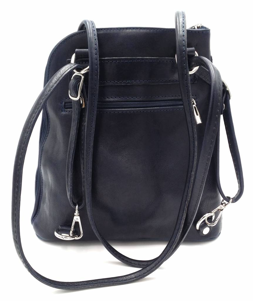 Bestseller - RZ20015  - real leather - 2 in 1 - shoulder bag - backpack - sturdy - high quality Italian leather- blue