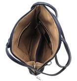Bestleder – RZ20015 –  echt leren - 2 in 1 - schoudertas – rugzak - stevig - hoge kwaliteit Italiaans leer- blauw