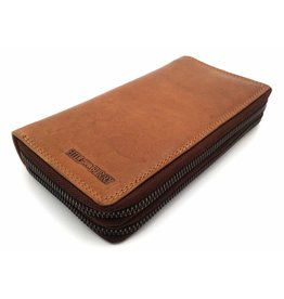 Hill Burry Hill Burry - VL777025 -3628- double zipper wallet - vintage leather - brown / cognac.