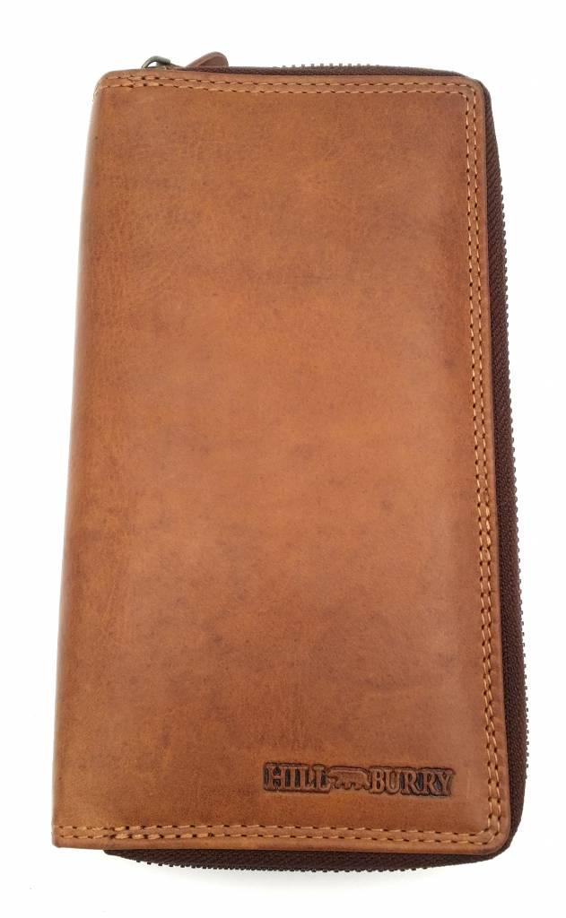 Hill Burry  Hill Burry - VL777025 -3628- Doppel-Reißverschluss Geldbörse - Vintage Leder - braun / Cognac.