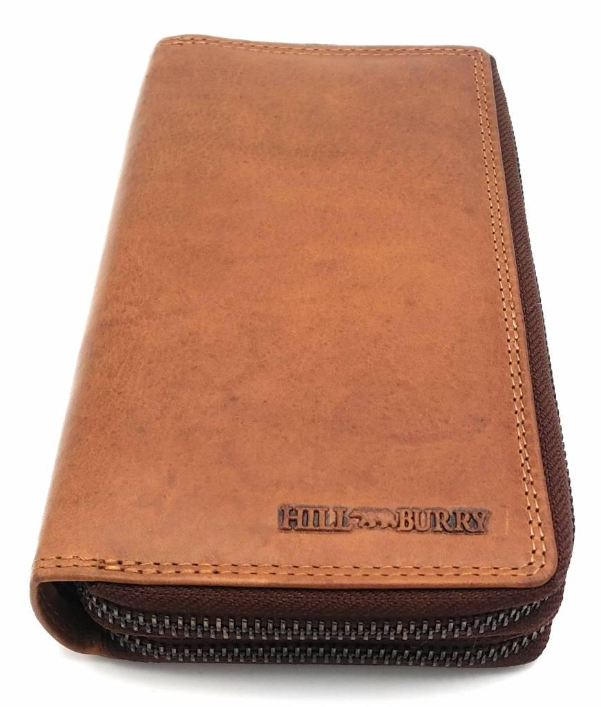 Hill Burry  Hill Burry - VL777025 -3628- double zipper wallet - vintage leather - brown / cognac.