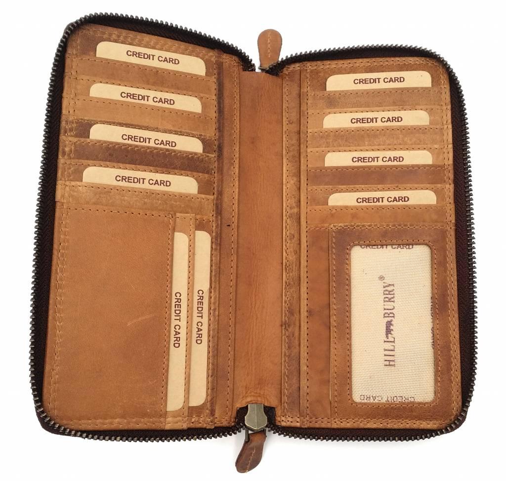 HILL BURRY Geldbörse Damen Vintage Echtleder Portemonnaie viele Fächer
