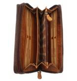 Hill Burry Hill Burry - VL777025 -3628- dubbele rits- portemonnee - vintage leder - bruin/ cognac.