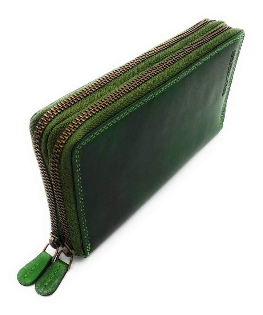 Hill Burry  Hill Burry - VL777025 -3628- double zipper wallet - vintage leather -green