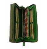 Hill Burry Hill Burry - VL777025 -3628- dubbele rits- portemonnee - vintage leder - groen