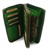 Hill Burry  Hill Burry - VL777025 -3628- Doppel-Reißverschluss Geldbörse - Vintage Leder - grün