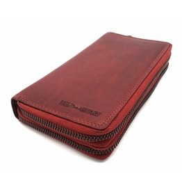 Hill Burry Hill Burry - VL777025 -3628- Doppel-Reißverschluss Geldbörse - Vintage Leder -rot