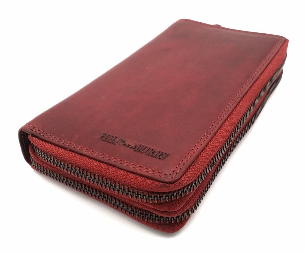 Hill Burry  Hill Burry - VL777025 -3628- double zipper wallet - vintage leather - brown / cognac. - Copy