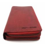Hill Burry  Hill Burry - VL777025 -3628- Doppel-Reißverschluss Geldbörse - Vintage Leder - rot