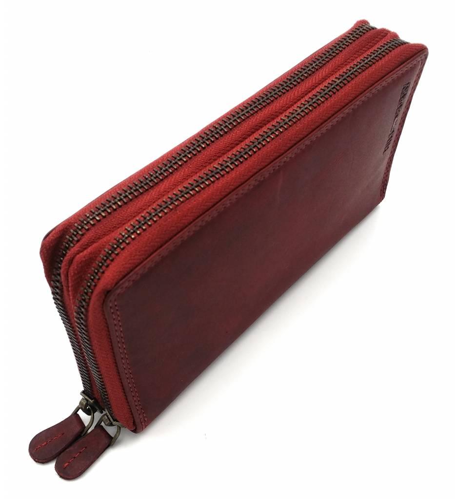 Hill Burry Hill Burry - VL777025 -3628- dubbele rits- portemonnee - vintage leder - rood