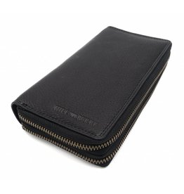 Hill Burry Hill Burry - VL777025 -3628- double zipper wallet - vintage leather - black