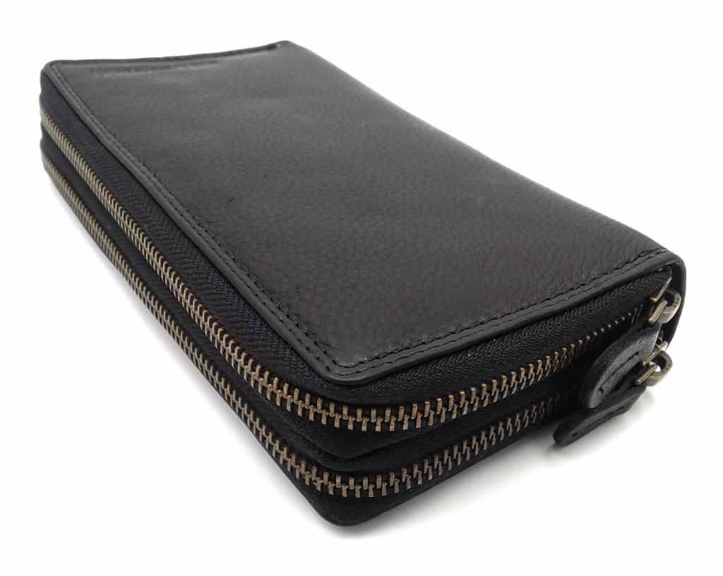 Hill Burry  Hill Burry - VL777025 -3628- Doppel-Reißverschluss Geldbörse - Vintage Leder - schwarz