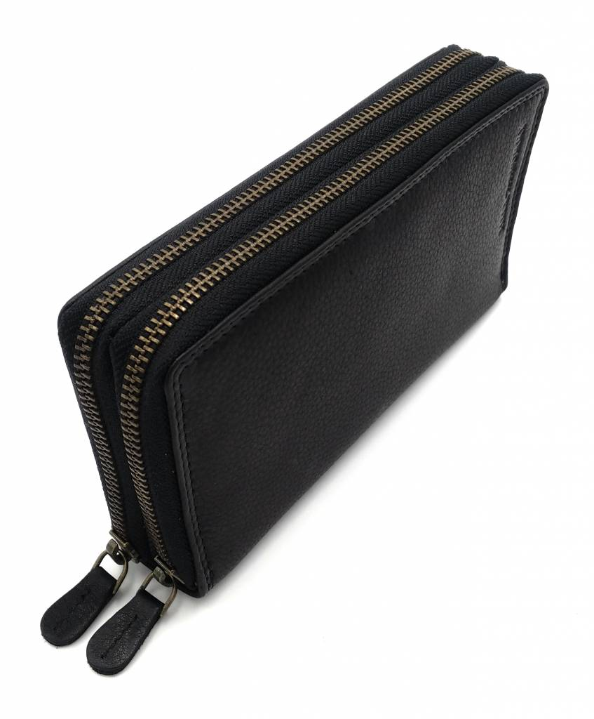 Hill Burry Hill Burry - VL777025 -3628- dubbele rits- portemonnee - vintage leder - zwart