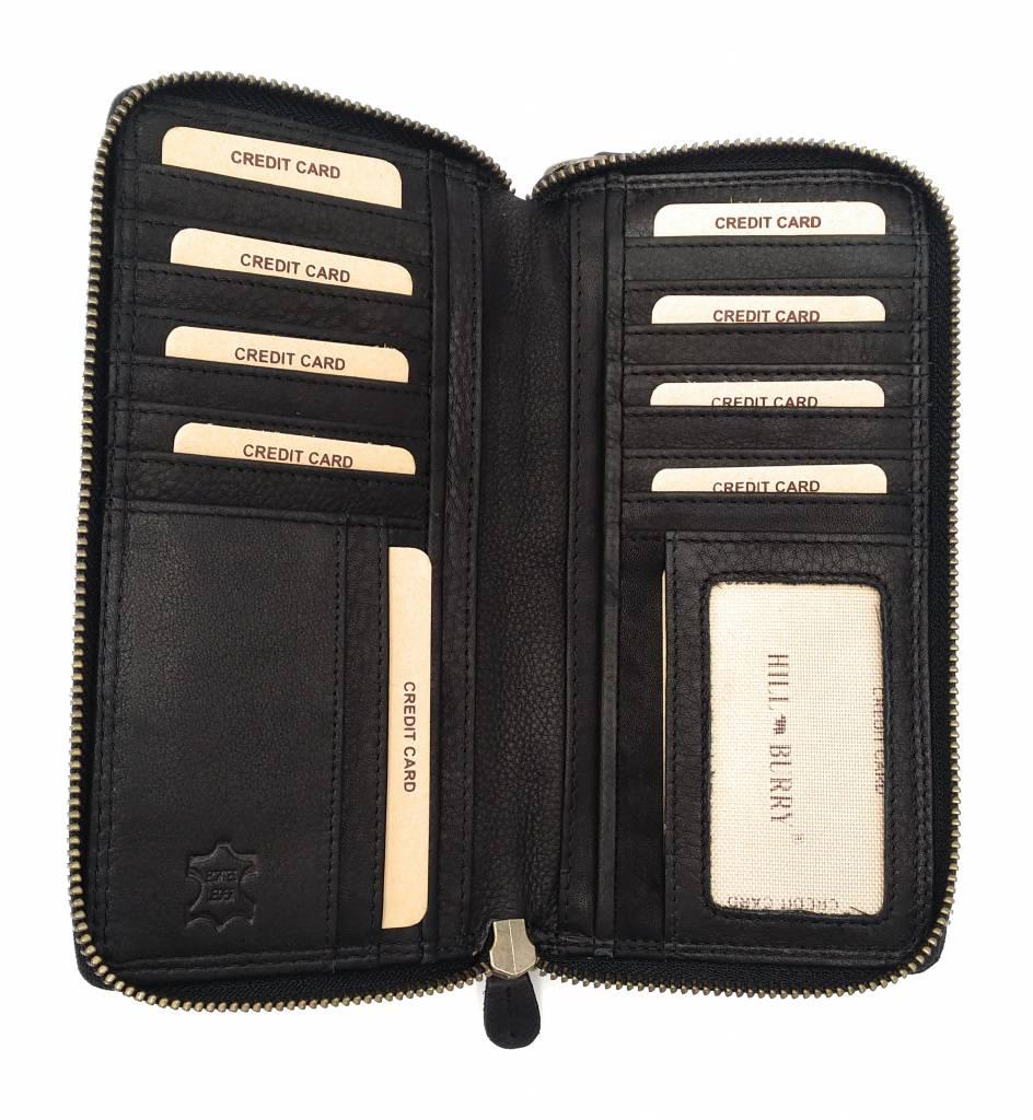 Hill Burry  Hill Burry - VL777025 -3628- double zipper wallet - vintage leather - black