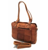 Hill Burry Hill Burry - VB100111 -3197 - genuine leather - ladies - checkered handbag - sturdy - chic - look - vintage leather- brown / cognac