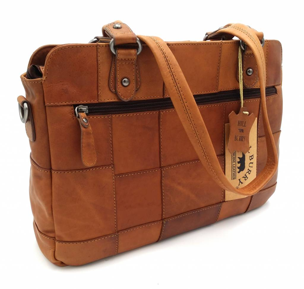 Hill Burry Hill Burry – VB100111 -3197 - echt lederen - dames - checkered handbag - stevig - chique - uitstraling - vintage leder- bruin /cognac