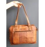 Hill Burry Hill Burry - VB100111 -3197 - Echtleder - Frauen - karierte Handtasche - fest - chic - Aussehen - Vintage Leder braun / cognac