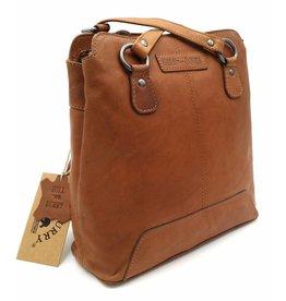 Hill Burry Hill Burry - VB100208 - 4065 - Echtes Leder - Damen Rucksack und Umhängetasche - Vintage Leder - Braun / Cognac