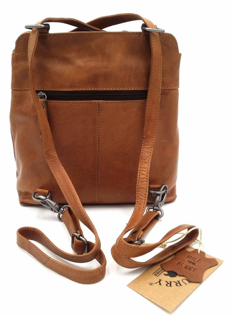 Hill Burry Hill Burry - VB100208 - 4065 - Echtes Leder - Damen Rucksack und Umhängetasche - Robust - Chic - Look - Vintage Leder - Braun / Cognac