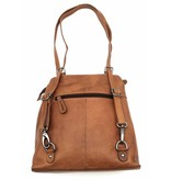 Hill Burry Hill Burry - VB100208 - 4065 - genuine leather - ladies Backpack and shoulder bag - sturdy - chic - look - vintage leather- brown / cognac