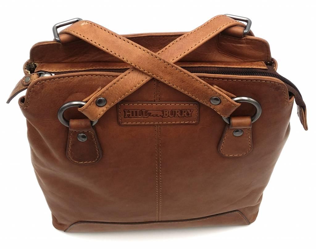 Hill Burry Hill Burry – VB100208 - 4065 - echt lederen - dames Rugzak en schoudertas - stevig - chique - uitstraling - vintage leder- bruin /cognac