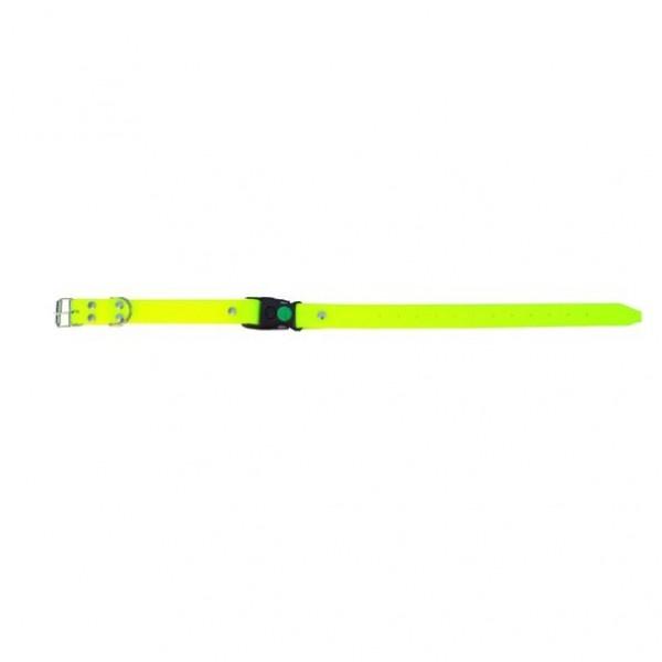 Halsband pvc versterkt met snelclip geel