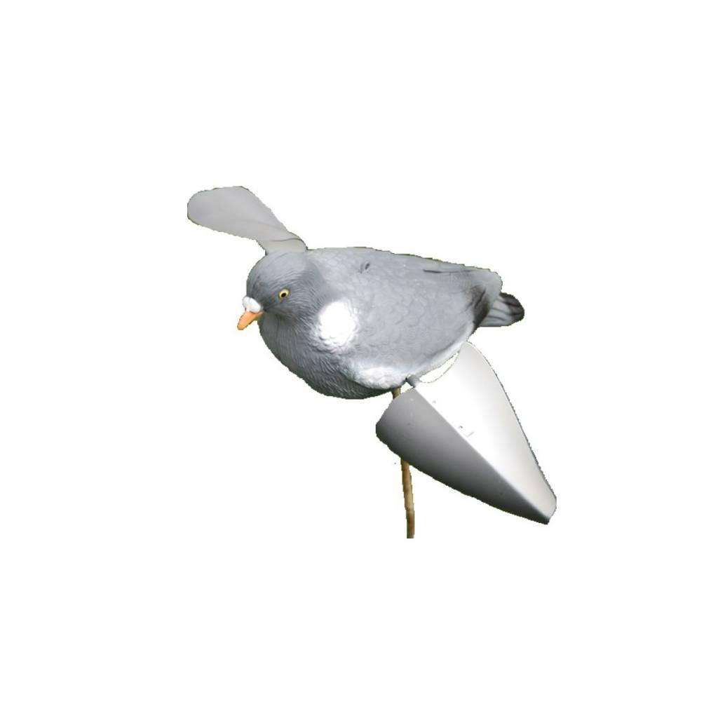Spinwing duif 36cm grijs/wit voor op stok