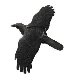 Lokvogel vliegende kraai geflockt 44x80cm incl. metalen pen