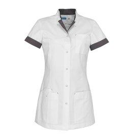 """De Berkel Tablier de soins infirmiers """"JILL"""" blanc avec taupe"""