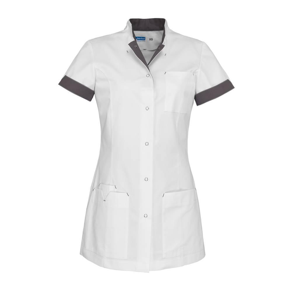 """De Berkel Verpleegschort """"JILL"""" wit met taupe"""