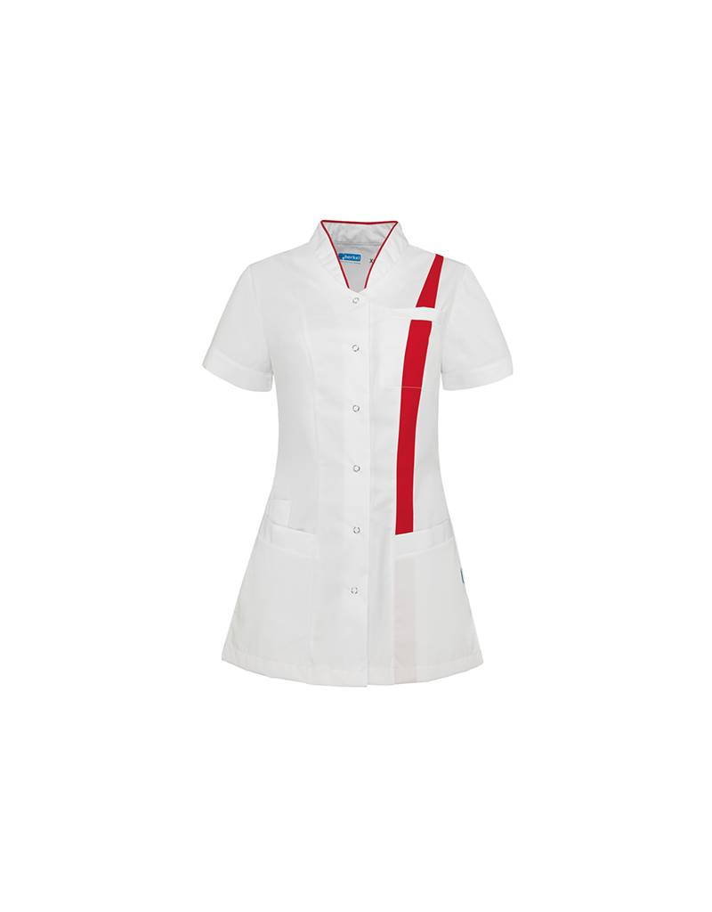 """De Berkel Verpleegschort """"LARA"""" wit met rood"""