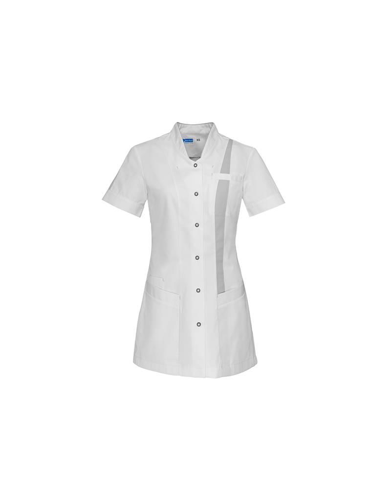 """De Berkel Verpleegschort """"LARA"""" wit met grijs"""