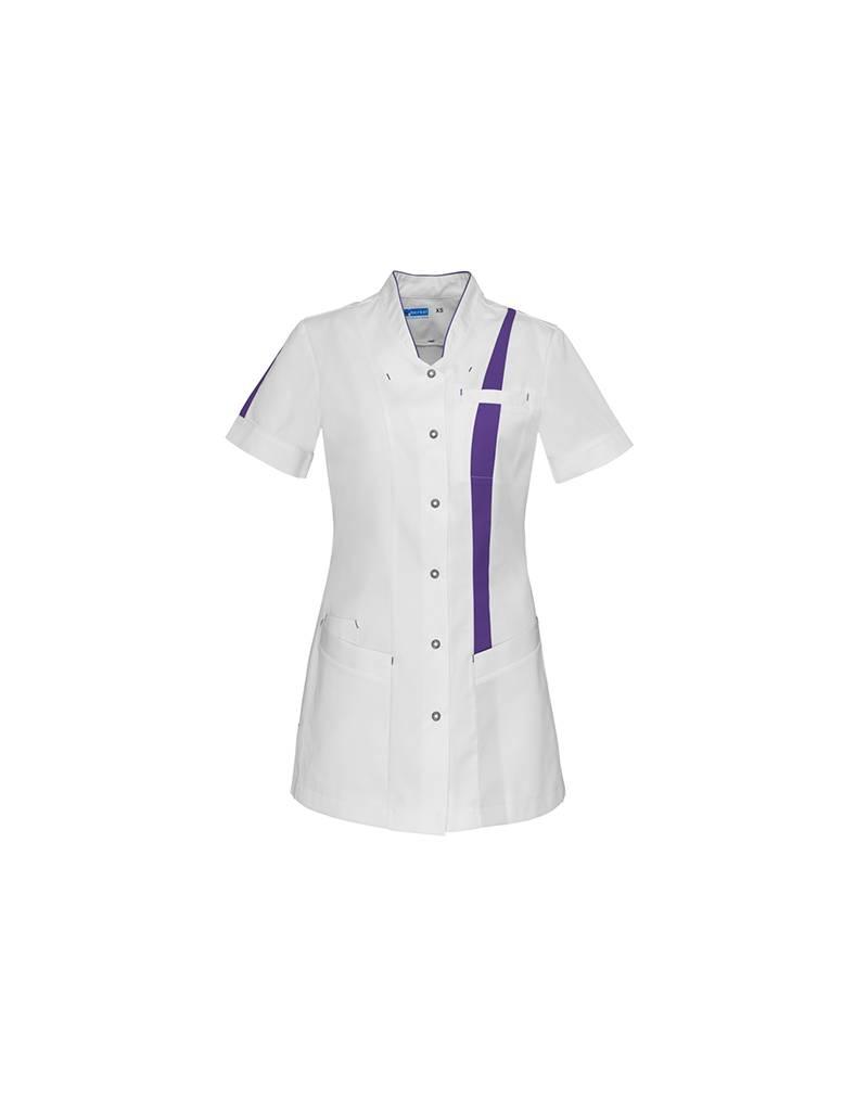 """De Berkel Verpleegschort """"LARA"""" wit met paars"""