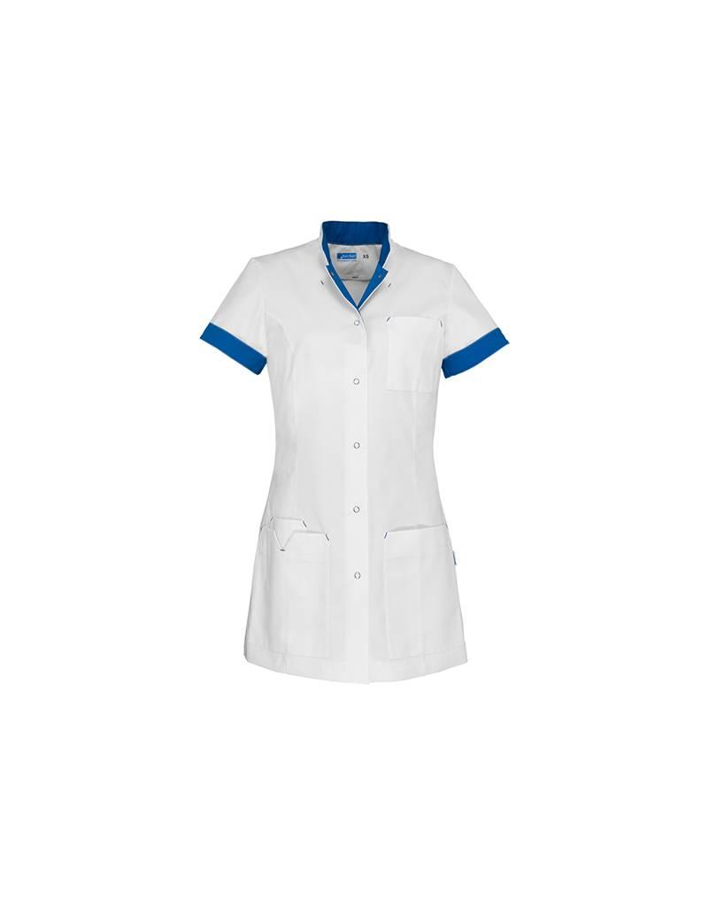 """De Berkel Tablier de soins infirmiers """"JILL"""" blanc avec royal new azzuro"""
