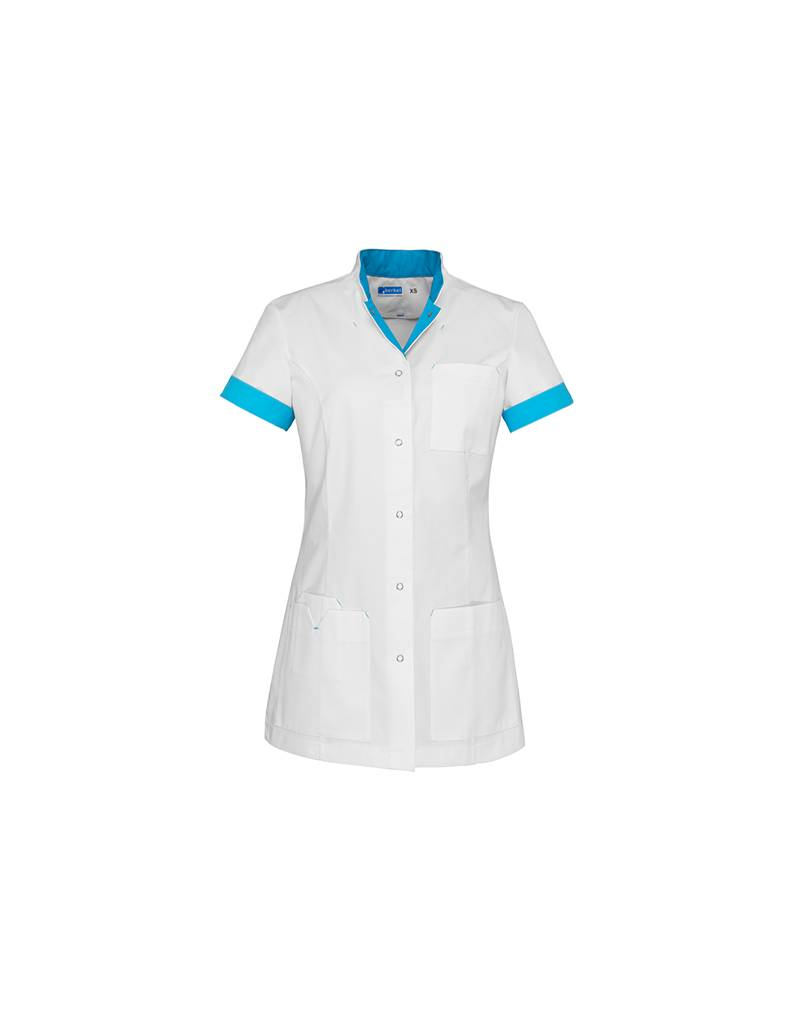 """De Berkel Verpleegschort """"JILL"""" wit met azur blauw"""