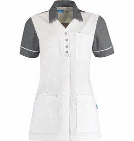 """De Berkel Verpleegschort """"CARMEN"""" Wit met Grijs"""