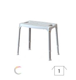 ADhome Siège de douche matière synthétique/aluminium avec l'assise plus large