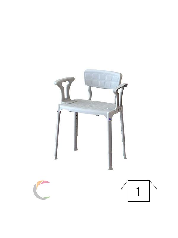 ADhome Douchestoel kunststof/aluminium, brede zitting met rug- en armleuningen