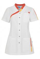 "De Berkel Verpleegschort ""PLEUN"" Wit-Oranje/rood"