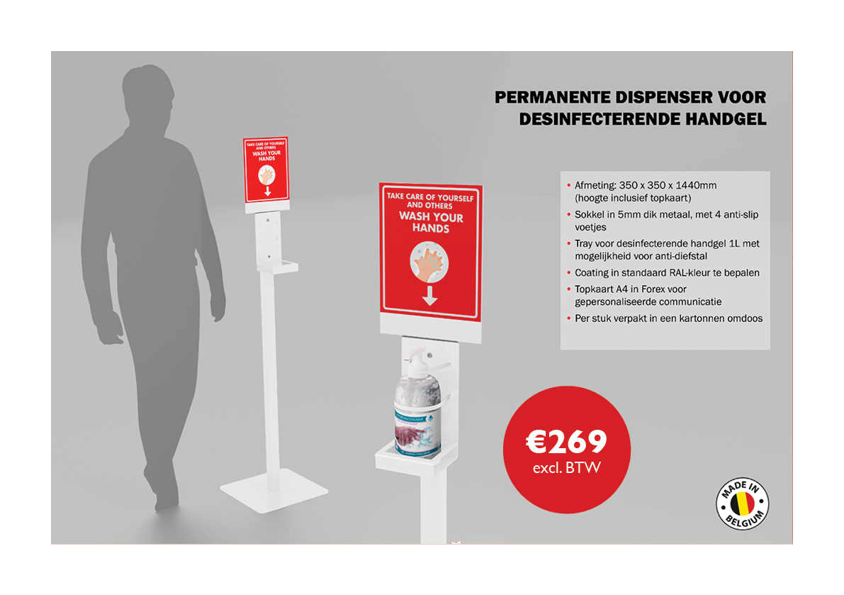 Permanente dispenser voor handgel