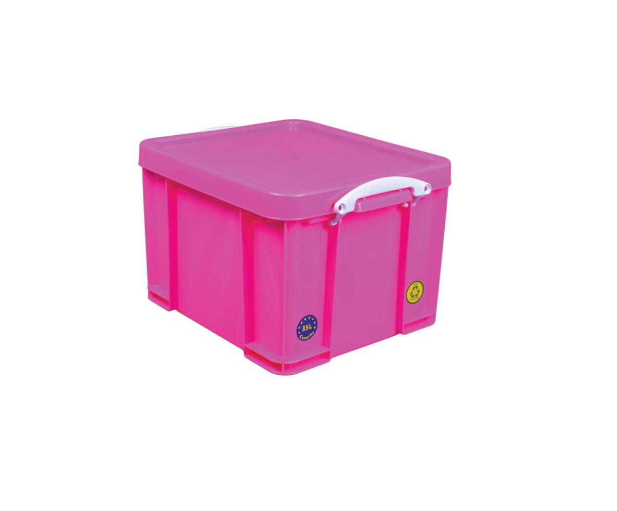 Really Useful Box Opbergbox 35L - neonroze met witte handvaten