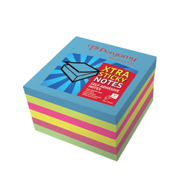 Pergamy Extra Sticky notes, ft 76 x 76 mm, neon , block van  90 vellen, pakketje van 6stuks